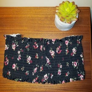 Xhilaration Black Floral Tube/Swim Top